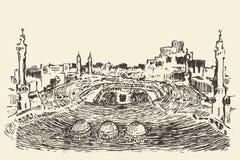 Heiliger moslemischer Vektor Kaaba Mecca Saudi Arabia gezeichnet Lizenzfreies Stockfoto