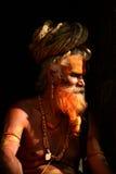Heiliger sadhu Mann in Pashupatinath, Kathmandu, Nepal Lizenzfreies Stockbild