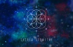 Heiliges Geometrievektorgestaltungselement auf einem abstrakten kosmischen Hintergrund stock abbildung