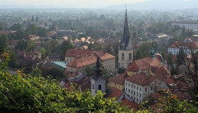 Heiliges James Church in Ljubljana Lizenzfreie Stockbilder
