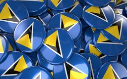 Heiliges Lucia Badges Background - Stapel des Heiligen Lucian Flag Button Lizenzfreie Stockbilder
