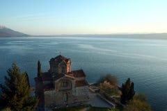 Heiliges Naum-Kloster bei Sonnenuntergang über Ohrid See, im südlichen Teil der Republiks Mazedonien Lizenzfreie Stockfotografie