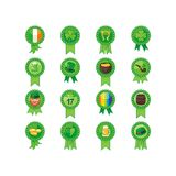 Heiliges Patrick Day Badges Set Lizenzfreie Stockfotos