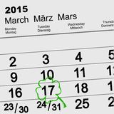 Heiliges Patricks Tag Kalender am 17. März Lizenzfreies Stockbild