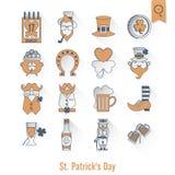 Heiliges Patricks-Tag lokalisierte Ikonen-Satz Stockfotografie