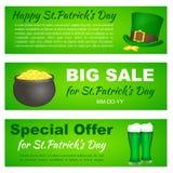 Heiliges Patricks-Tagesfahnen mit Koboldhut, -topf und -bier für Grußkarte, Anzeige, Förderung, Plakat, Flieger, Blog, Netz Lizenzfreie Stockfotografie