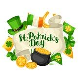 Heiliges Patricks-Tagesgrußkarte Kennzeichnen Sie Irland, Goldschatzmünzen, Shamrocks, grünen Hut und Hufeisen Stockfotografie