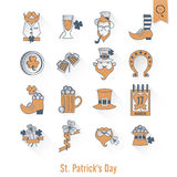 Heiliges Patricks-Tagesikonen-Satz Stockfotografie