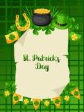 Heiliges Patricks-Tagesplakat Flagge, Goldschatzmünzen, Shamrocks, grüner Hut und Hufeisen Lizenzfreie Stockfotos