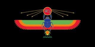 Heiliges Scarabäusmuster Ägyptens auf schwarzem Hintergrund Heiliges Symbol stock abbildung
