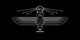 Heiliges Scarabäusmuster Ägyptens auf schwarzem Hintergrund Heiliges Symbol vektor abbildung