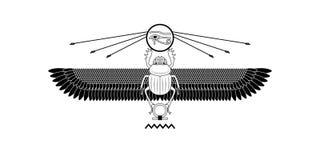 Heiliges Scarabäusmuster Ägyptens auf Weiß Heiliges Symbol lizenzfreie abbildung
