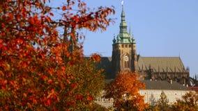 Heiliges Vitus Cathedral im Herbst stock video footage