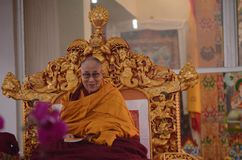Heiligkeit Dalai Lama in Bodhgaya, Indien stockfotos