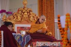 Heiligkeit Dalai Lama in Bodhgaya, Indien lizenzfreie stockbilder
