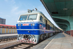 HEILONGJIANG, CHINA - Jul 24 2015: China Railways DF11 diesel lo. Comotive in Mudanjiang Railway Station, Heilongjiang, China. DF11 used on the China Railway stock photo