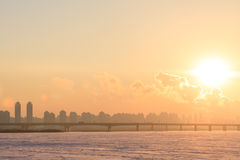 Heilongjiang Province, Harbin Songhua River Highway Bridge Sunset Stock Image
