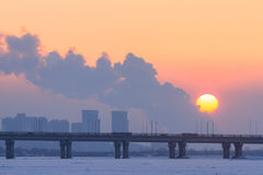 Heilongjiang Province, Harbin Songhua River Highway Bridge Sunset. Eastphoto, tukuchina, Heilongjiang Province, Harbin Songhua River Highway Bridge Sunset Royalty Free Stock Photos