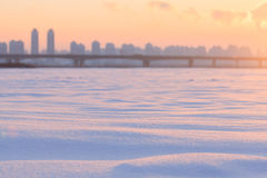 Heilongjiang Province, Harbin Songhua River Highway Bridge Sunset. Eastphoto, tukuchina, Heilongjiang Province, Harbin Songhua River Highway Bridge Sunset Stock Images