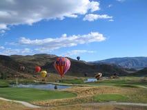 Heißluft-Ballone in Snowmass Stockfotografie