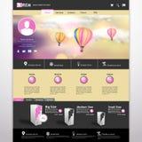 Heißluftballon Website-Schablonen-Vektor/with in der Weinlese bokeh Himmelillustration Stockbilder