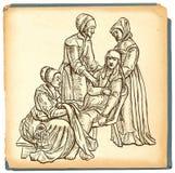 Heilung - eine Handgezogene Illustration in der Weinleseart lizenzfreie abbildung
