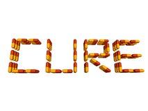 Heilungtext durch die Pillen getrennt auf Weiß Stockfoto