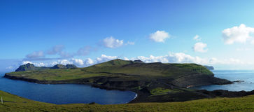 Heimaey海岛,韦斯特曼纳群岛群岛全景  免版税库存图片