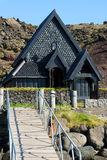 Heimaey church. Black painted wooden church on the island of Heimaey stock photos