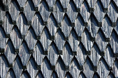 Heimaey church roof. Black painted wooden roof church on the island of Heimaey stock images
