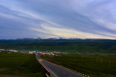Heimahe township sunset scene, Qinghai, China Stock Photography