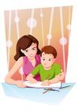 Heimarbeit mit Mamma Lizenzfreies Stockfoto