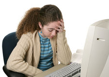 Heimarbeits-Kopfschmerzen Stockbild