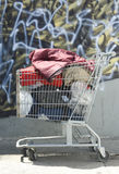 Heimatloser Einkaufswagen Stockfotos