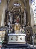 High altar view in St. Clemens Church in Heimbach, North Rhine-Westphalia Germany. HEIMBACH, GERMANY - APRIL 19, 2015: Beautiful Baroque high altar view in St stock photo