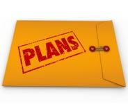 Heimelijke Verrichtingen van de plannen de Geheime Vertrouwelijke Envelop Stock Afbeelding
