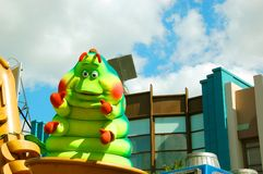 Heimlich the Caterpillar. Form Disney's Bugs Life is greeting the crowd during the Block Party Bash Parade in Hollywood Studios, Orlando royalty free stock photos