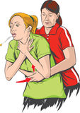 Heimlich maneuver. Vector illustration of Heimlich maneuver performing Royalty Free Stock Photography