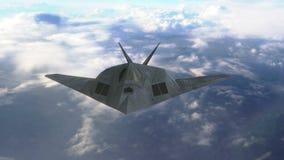 HeimlichkeitsDüsenflugzeugfliegen über Wolken stock footage