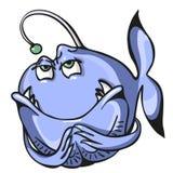 Heimtückische blaue Fische lokalisiert auf weißem Hintergrund Lizenzfreies Stockbild