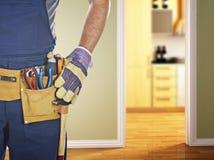 Heimwerker betriebsbereit zur Arbeit Stockbild