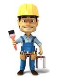 Heimwerker 3d mit Farbe kann und Pinsel Stockfotografie