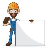Heimwerker Holding Blank Sign, das Daumen aufgibt Lizenzfreie Stockbilder