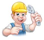 Heimwerker Mechanic oder Klempner mit Schlüssel Stockbilder