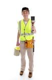 Heimwerker oder Maler betriebsbereit zur Arbeit stockfotos