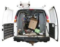 Heimwerker Utility Truck Van Isolated auf Weiß Stockbilder