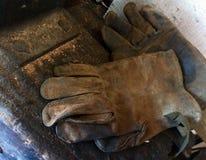 Heimwerkerarbeitskraftlederhandschuhe Lizenzfreies Stockfoto