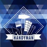 Heimwerkerlogo auf polygonalem Hintergrund im Blau Stockfoto
