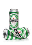 Heineken beer cans with water drops, isolated on a white background Stock Photography