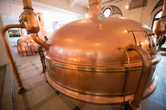 Heineken brewery. SEPTEMBER, 2014: Brewery inside Heineken Experience Museum stock photography